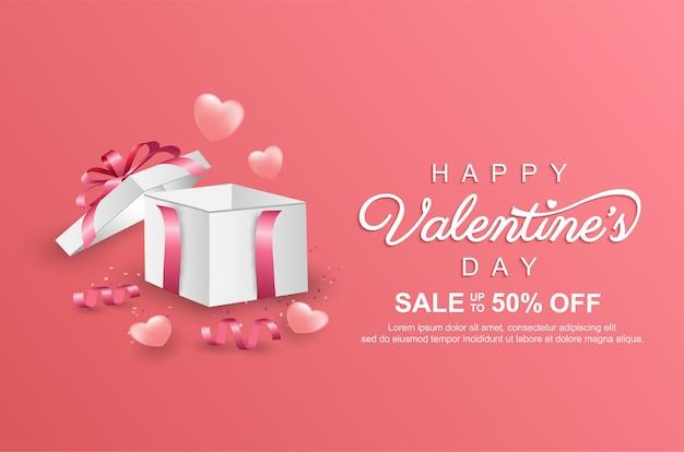 Bannière de promotion de vente heureuse saint-valentin avec boîte-cadeau réaliste