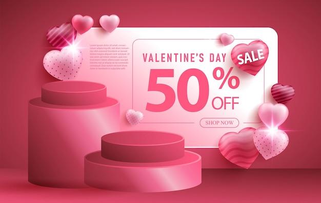 Bannière de promotion de vente de la saint-valentin avec forme de foyer ou d'amour réaliste et podium 3d