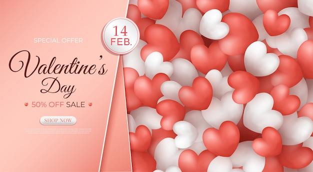 Bannière de promotion de vente de la saint-valentin