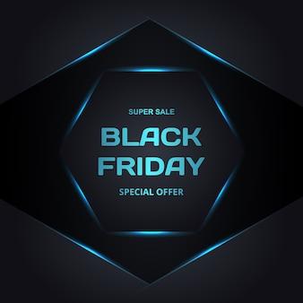Bannière de promotion de vente vendredi noir. modèle de bannière de vente au néon noir vendredi noir et bleu.