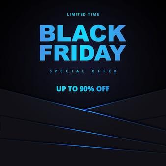 Bannière de promotion de vente vendredi noir. modèle de bannière de vente noir vendredi néon noir et bleu.