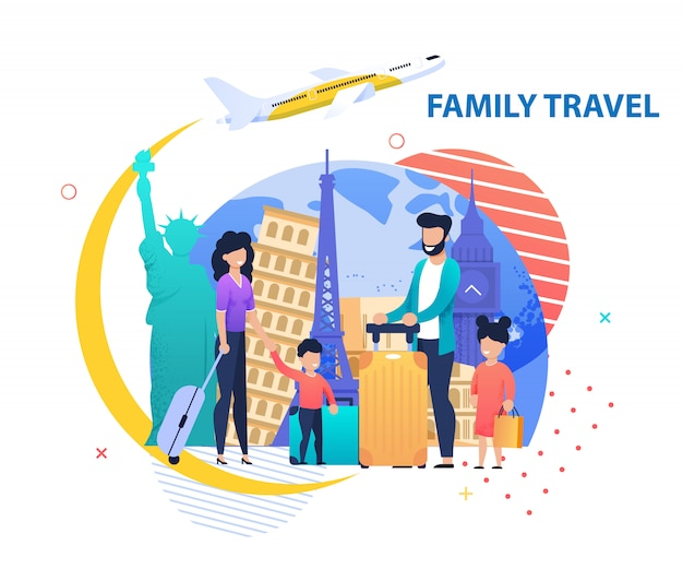 Bannière de promotion voyage en famille dans d'autres pays