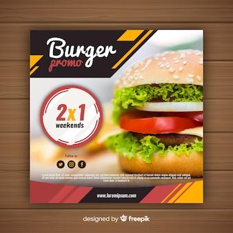 Bannière promotionnelle alimentaire avec photo