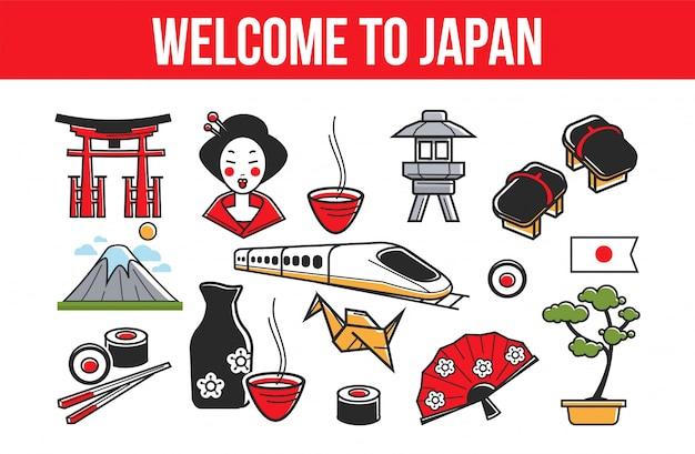 Bannière promotionnelle bienvenue au japon avec symboles nationaux