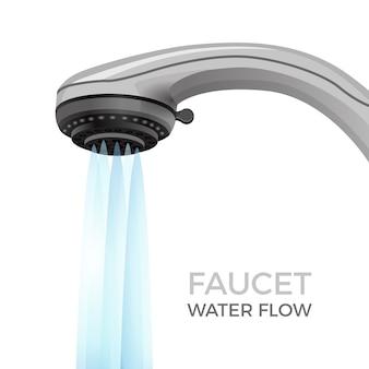 Bannière promotionnelle de débit d'eau de robinet avec buse de douche. équipement de plomberie de salle de bain moderne avec un puissant courant commercial isolé réaliste.