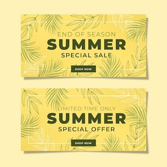 Bannière promotionnelle d'été avec fond jaune
