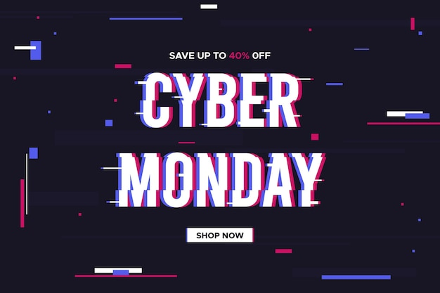 Bannière promotionnelle glitch cyber monday