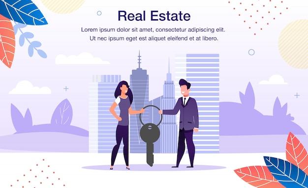 Bannière promotionnelle d'investissement immobilier plat