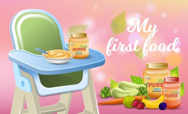 Bannière promotionnelle my first food, petit déjeuner frais pour bébé