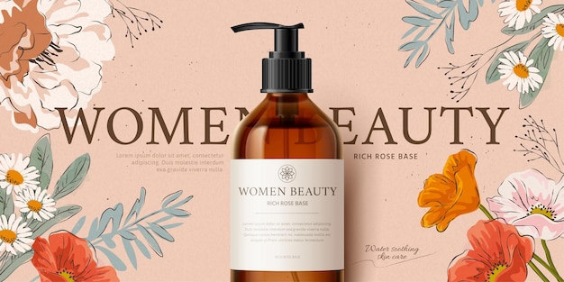Bannière promotionnelle pour maquette de produit de nettoyage botanique décorée de fleurs romantiques dessinées à la main