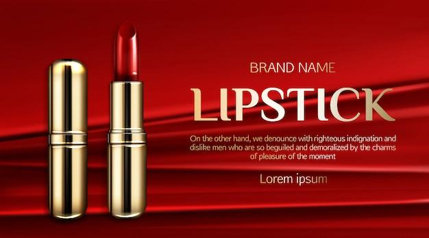 Bannière promotionnelle de rouge à lèvres