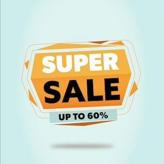 Bannière promotionnelle de super vente avec un design géométrique flottant