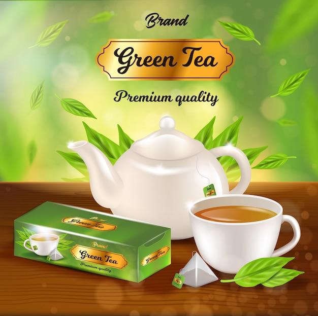 Bannière promotionnelle de thé vert, pot en porcelaine blanche, paquet