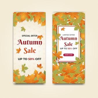 Bannière promotionnelle de vente d'automne or rouge et feuille verte