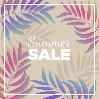 Bannière promotionnelle de vente d'été avec des branches de plantes dans des tons pastel