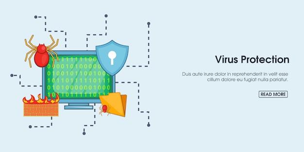 Bannière de protection antivirus horizontale, style dessin animé
