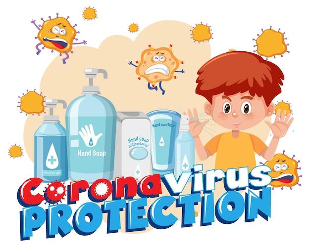 Bannière de protection contre le coronavirus avec personnage de dessin animé et produits désinfectants