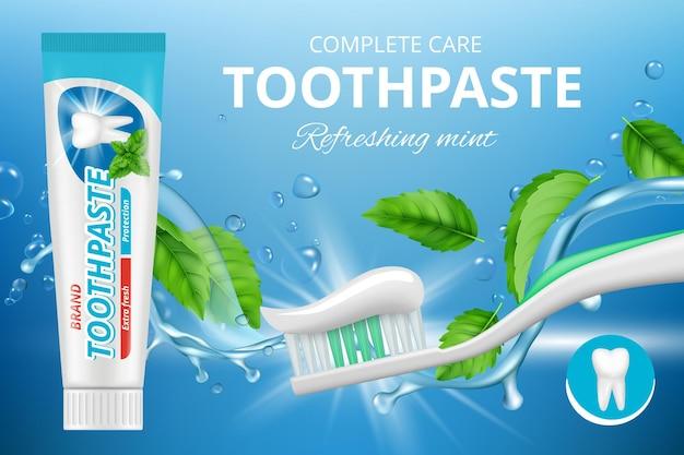 Bannière de protection dentaire fraîche et saine avec du dentifrice et une brosse à dents