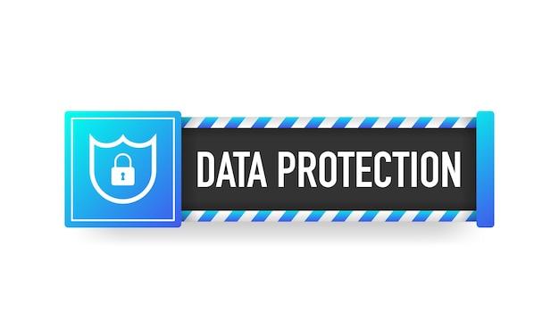 Bannière De Protection Des Données Icône Plate Informations Sur Le Site Web Réseau Cyber Technologie Fond Blanc Vecteur Premium