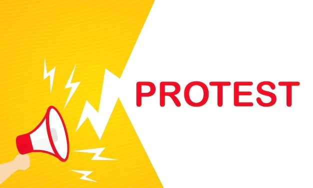 Bannière de protestation. main tenant le mégaphone. publicité. vecteur sur fond blanc isolé. eps 10.