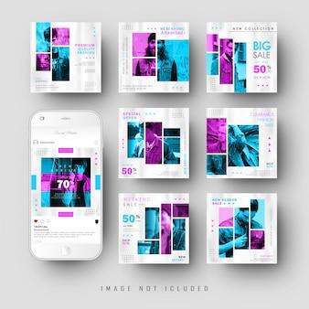 Bannière de publication de flux de médias sociaux bichromie minimaliste rose modèle bleu