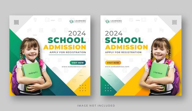 Bannière De Publication Sur Les Médias Sociaux Pour L'admission à L'école Vecteur Premium