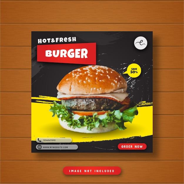Bannière de publication sur les médias sociaux pour les hamburgers chauds et frais