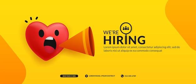 Bannière de publication sur les médias sociaux pour un poste vacant nous sommes en arrière-plan avec un concept d'annonce de coeur mignon