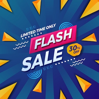 Bannière de publication sur les médias sociaux pour la promotion de l'offre de vente flash avec une forme triangulaire et un fond bleu