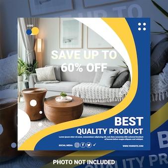 Bannière de publication sur les médias sociaux pour la vente de meubles