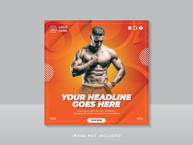 Bannière de publication sur les réseaux sociaux de gym et de fitness ou modèle de flyer carré