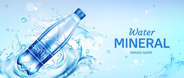 Bannière publicitaire de bouteille d'eau minérale, flacon avec boisson