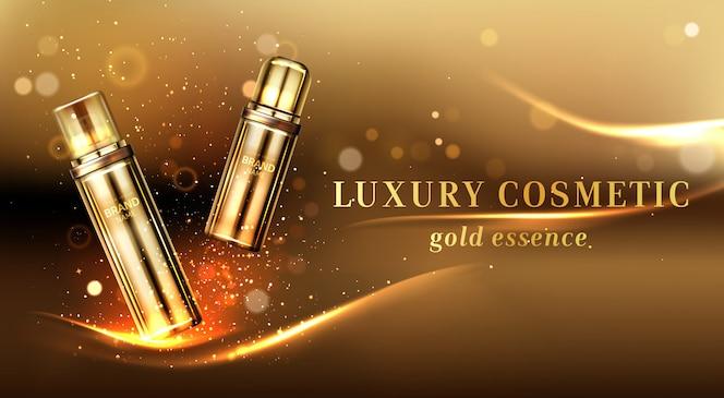 Bannière publicitaire de bouteilles cosmétiques or, tubes cosmétiques