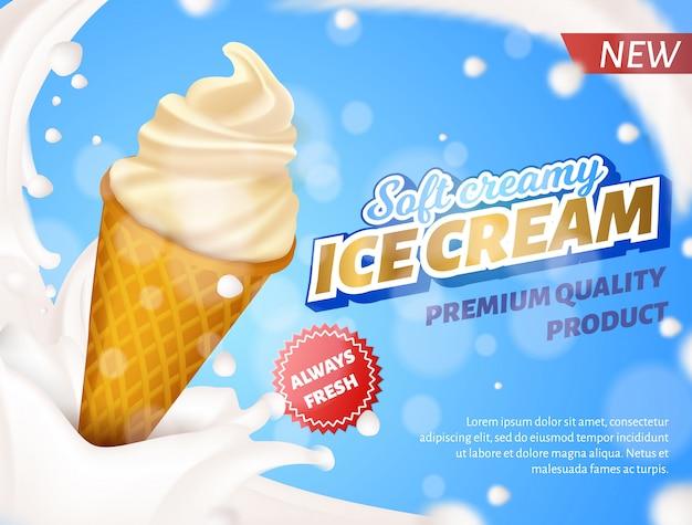 Bannière publicitaire cône de crème glacée de qualité supérieure