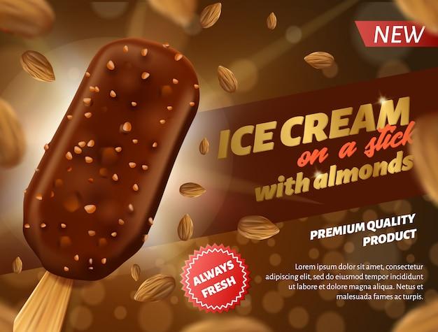 Bannière publicitaire crème glacée au chocolat sur bâton