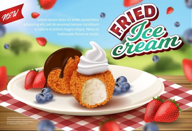 Bannière publicitaire de la crème glacée frite dans crisp