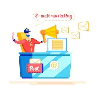 Bannière Publicitaire E-mail Marketing Cartoon Flat. Vecteur Premium