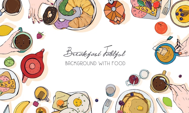 Bannière publicitaire horizontale sur le thème du petit déjeuner. toile de fond avec boisson, crêpes, sandwichs, œufs, croissants et fruits. vue de dessus. arrière-plan coloré dessiné à la main avec place pour le texte.