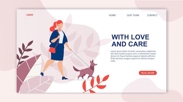 Bannière publicitaire inscription love and care.