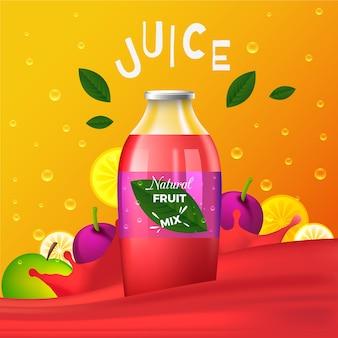 Bannière publicitaire de jus de fruits