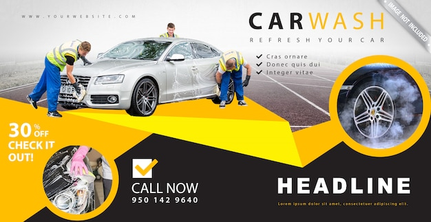 Bannière publicitaire de lavage de voiture