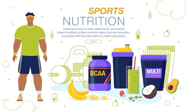 Bannière publicitaire sur la nutrition sportive et les vitamines