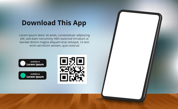 Bannière publicitaire de la page de destination pour le téléchargement de l'application pour téléphone mobile, smartphone 3d avec plancher en bois et arrière-plan flou. télécharger les boutons avec le modèle de code de scan qr.