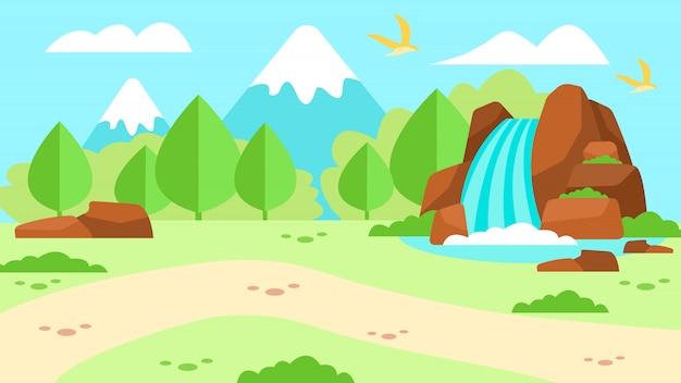 Bannière publicitaire avec paysage de montagne