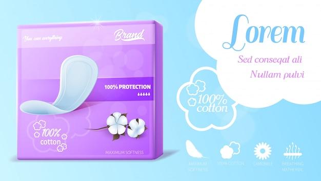 Bannière publicitaire pour maxi tampons de coton hygiéniques féminins