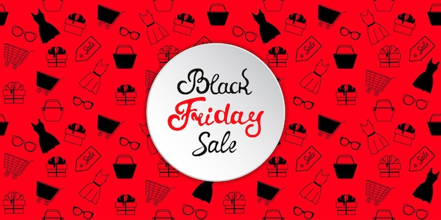 Bannière publicitaire pour la vente du black friday avec des vêtements et accessoires pour femmes pour le shopping.