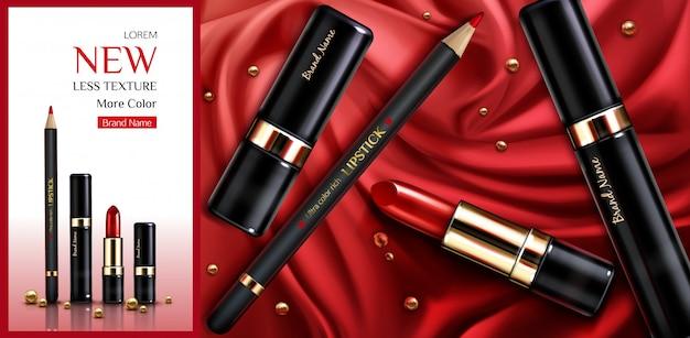 Bannière publicitaire de produit de beauté maquillage rouge à lèvres cosmétiques.