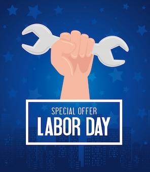 Bannière publicitaire de promotion de vente de fête du travail, avec outil à main et clé