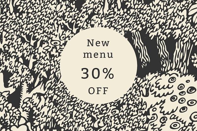 Bannière publicitaire promotionnelle vintage de modèle de remise de 30 % de café