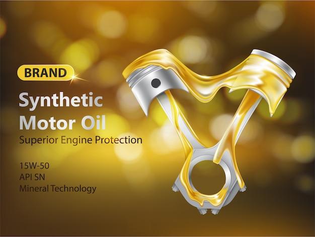 Bannière publicitaire réaliste 3d de nouvelle huile de moteur synthétique avec pistons de moteur à combustion interne